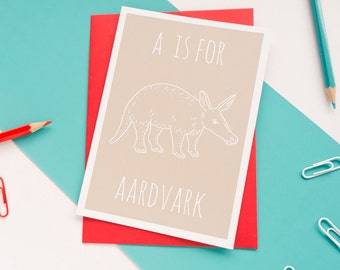 Aardvark Card / Animal Alphabet Card / Animal Alphabet / Blank Greeting Card / Notecard / Animal Card / Aardvark Birthday Card