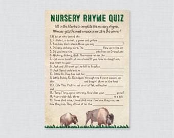 Bison Nursery Rhyme Quiz Baby Shower Game - Printable Instant Download -  Rustic Western Buffalo Baby Shower Game Nursery Rhyme - 0058