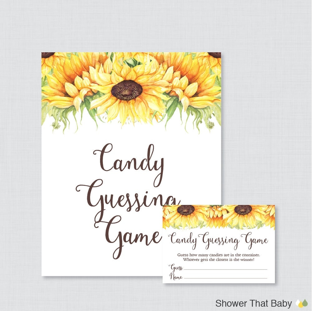 sunflower baby shower candy guessing game printable guess