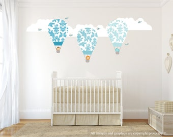 Hot Air Balloon Wall Decals, Wall Decals Nursery, Jungle Animals Decals, Damask, Nursery Wall Decal, Baby Wall Decal, REMOVABLE and REUSABLE