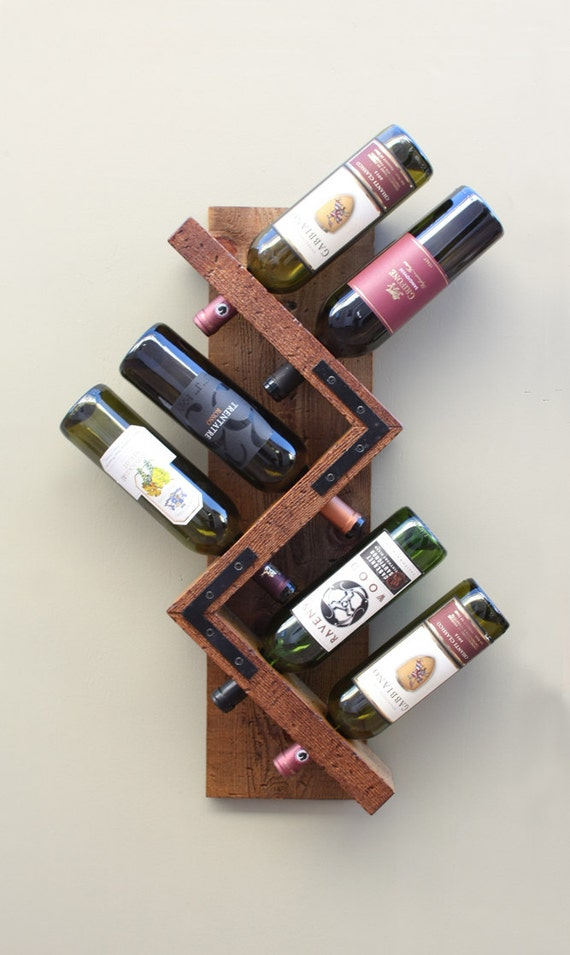 Handmade wine rack wall mounted wine rack rustic wood by for Portabottiglie vino fai da te