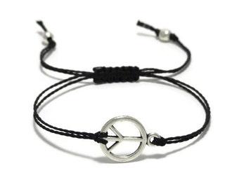 Peace Sign Bracelet, Peace Bracelet, String Bracelet, Hippie Bracelet, Thread Bracelet, Friendship Bracelet, Peace Jewelry, Hippie Jewelry
