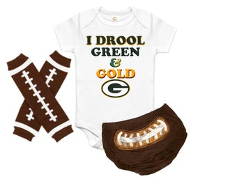 Baby Football Onesie Set, Baby First Football, Baby NFL Outfit, Baby NFL Football Onesie, Baby Personalized Outfit, nfl green bay packers