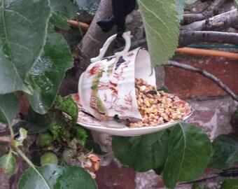 Teacup bird feeder, bird lover's gift, vintage bird feeder, garden ornament, gift for her, china bird feeder, pretty garden decor.