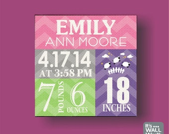 Baby Girl or Boy Birth Announcement Canvas Print - Nursery Canvas subway Art , Personalized Wall Hanging