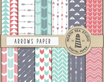 Arrows Scrapbooking Papers Teal And Red Digital Paper, Arrow Backgrounds, Red Teal Arrows Papers, Coupon Code: BUY5FOR8