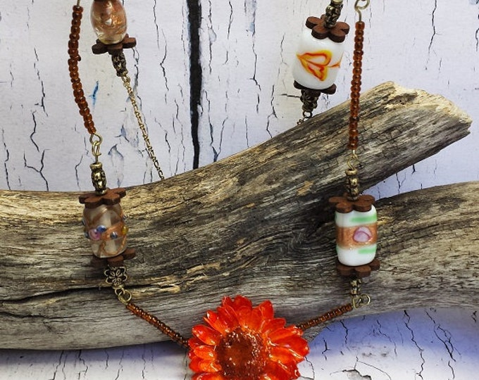 Long Bead Necklace With Tassel ~ Fall Jewelry Trends ~ Bright Orange & Brown Real Plant Jewelry, Everyday Jewelry, Autumn Statement Necklace