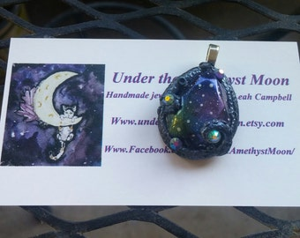 ON SALE Polymer clay Galaxy Monster pendant