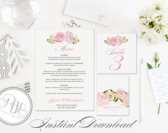 Pink Peonies Watercolor Menu, Table Number, Place Card Templates-INSTANT DOWNLOAD-DIY Editable Text-Pink Roses Peonies-Juliet Table Package