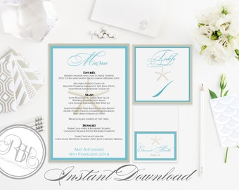 Beachside Wedding Table Number, Place Card, Menu INSTANT DOWNLOAD-DIY Editable Text-turquoise with starfish-Natahlia Table Package