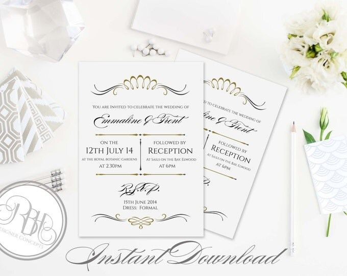 "Art Deco Invitation-INSTANT DOWNLOAD Template-Wedding 5x7 PDF & Psd Editable Text Only-Art Deco Gold Black Printable  - ""Anneliese"""