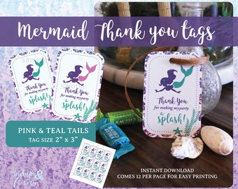 Mermaid thank you tags | Favor tags | Mermaid under the sea design | birthday thank you tags | Instant download printable files