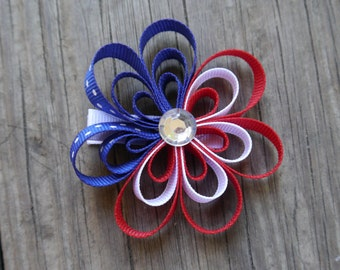 4th of July Flower Hair Bow; Patriotic Hair Clip; Red White and Blue Flower