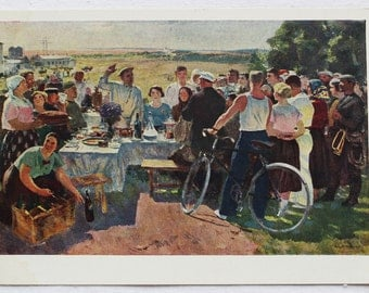 "Artist Gerasimov. Vintage Soviet Postcard ""Village Festival"" - 1961. Sovetskiy hudozhnik. People, Celebration, Tableful, Food, Field"
