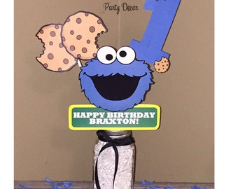 Cookie Monster Birthday Party Centerpiece - Cookie Monster Birthday Decorations - Sesame Street Party