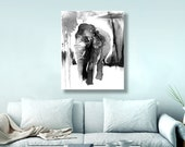 Elephant art, watercolor art, mom gift, for her, monochrome art, black and white, Canvas Print, Ink Drawing, Elephant Nursery,  16x20