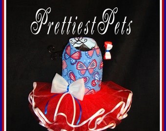 Dog Dress Patriotic 4th of July Dog Dress Stars and Stripes Butterfly Dog Dress Red White and Blue Dog Dress Prettiest Pets Designs!