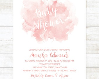 baby shower invitation, pink watercolor baby shower invitation, pink printable baby shower invitation
