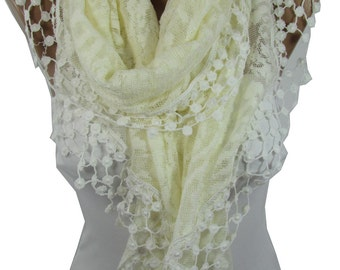 Lace Shawl Scarf Cream Scarf Cowl Spring Summer Scarf Cream Wedding Scarf Wrap Bridesmaids Gifts Bridal Accessories Gift For Bride For Her