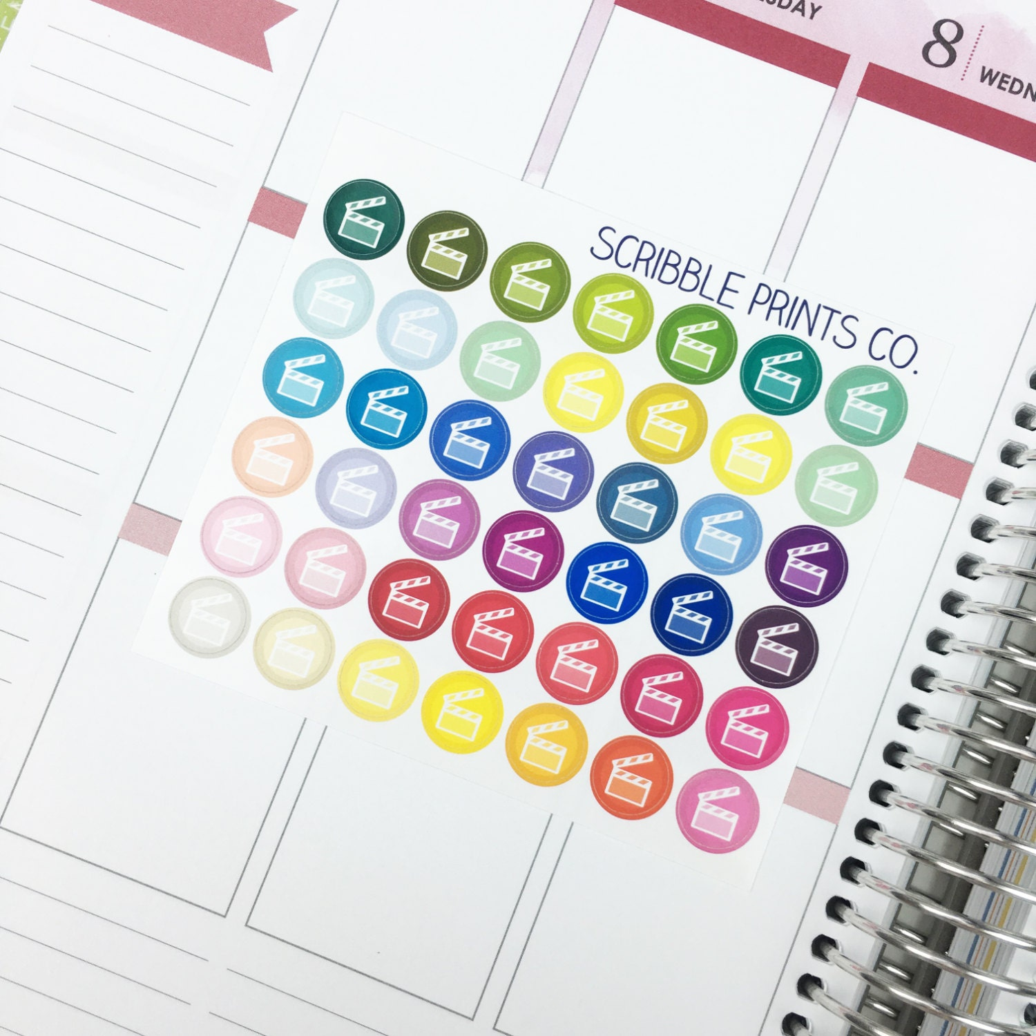 Movie Slate // Icon (42 Glossy Planner Stickers)