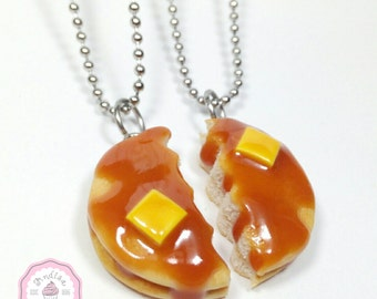 Pancake Necklaces, Bff Jewelry, Bff Necklaces, Pancakes, Food Necklace, Best Friend Jewelry, Pancake Charms, Food Charms