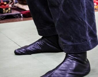 Ninja Soft Leather Tabi // BLACK // Goat Leather Tabi // Handmade // Suede Sole