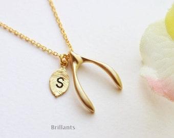 Personalized Wishbone necklace, Leaf necklace, Bridesmaid gift, Everyday necklace, Wedding necklace