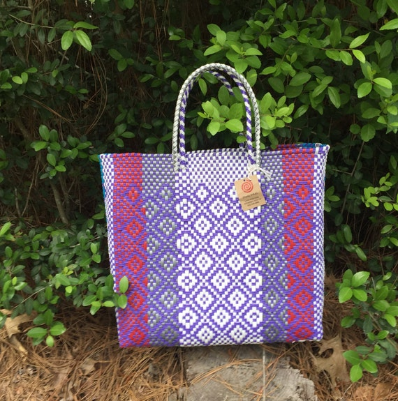 Handmade Market Baskets : Woven market basket handmade from recycled plastic by