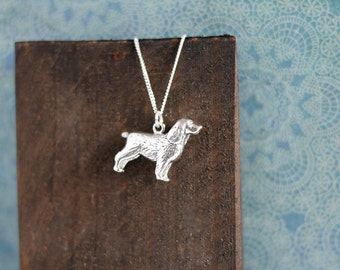 Silver Spaniel Necklace • Mothers Day gifts for her, dog, charm, sterling silver jewellery, springer, cocker, breed, gun, crufts, 3D, spring