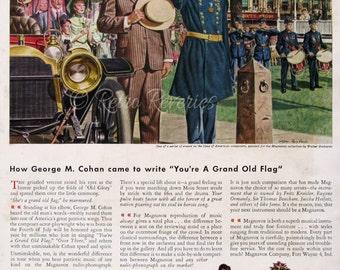 1945 Magnavox Radio Phonograph Ad - George M Cohan - Grand Old Flag - Civil War Hero - Veteran Soldier Saluting - Walter Richards Art