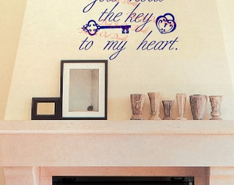 You hold the key to my heart  Vinyl Wall Decal.... E00215
