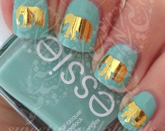 Gold Elephant Nail Art Nail Water Decals Transfers Wraps