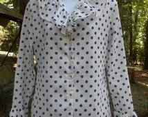 Vintage navy blue polka dot ruffle blouse // 1980s 80s valley girl secretary long sleeve yuppie top M