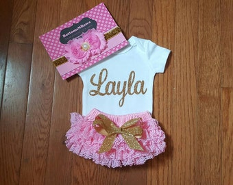 Gold Glitter Vinyl Bling with personalized name Onesie, Lace Bloomers, & Headband Set, baby girl, newborn, hospital outfit,take home set