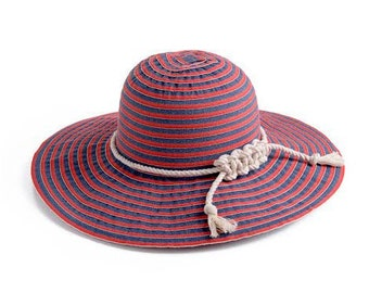 Nautical hat , Red and blue jeans stripes hat decorated with a white cord , Packable Wide brim hat , Custom hats.