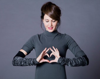 Fingerless gloves, hands warmers, Thumbhole, M-Sleeves,