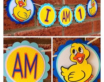 I am 1 high chair rubber duckies banner - First Birthday- I am 1 banner - rubber duckies- Duck banner - 1st Birthday-