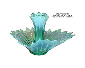 Fostoria Heirloom Green Opalescent #2720  Epergne Set (2 piece)