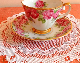 Lovely vintage Japan Shafford hand decorated tea cup and saucer