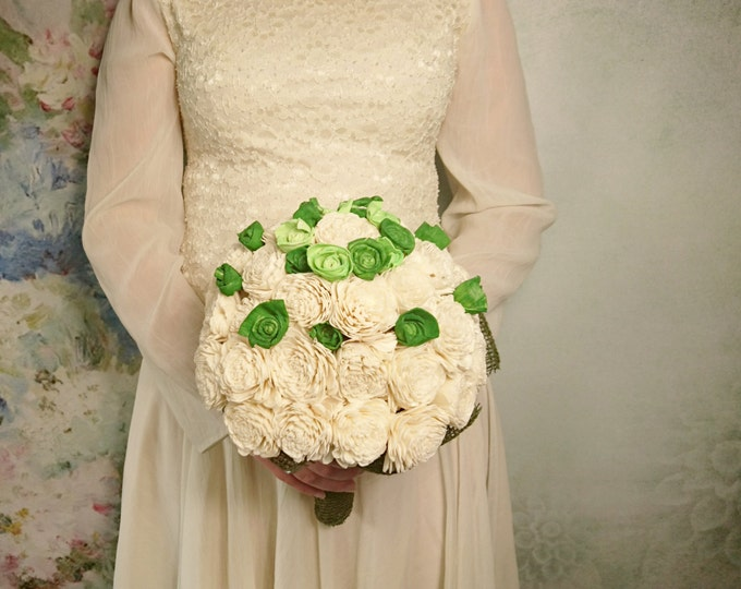 Greenery sola flowers bouquet with burlap