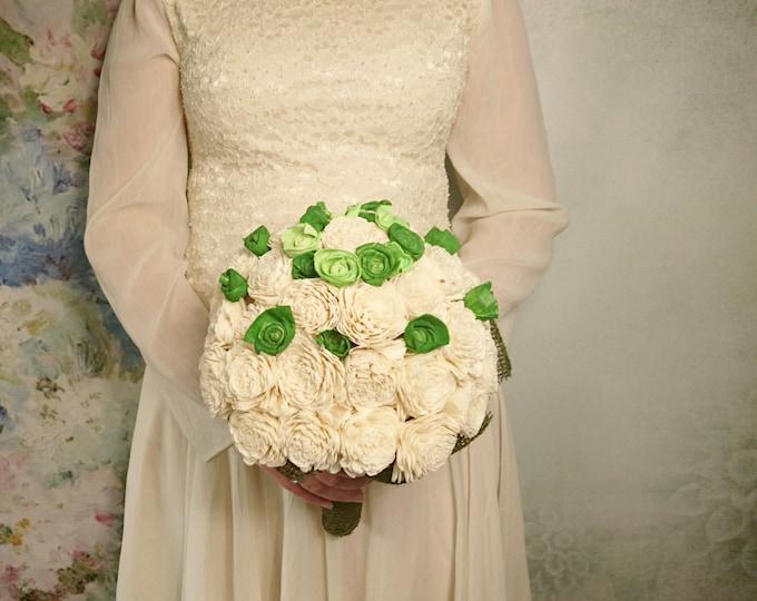 Ivory green rustic wedding BOUQUET sola Flowers Burlap roses vintage wedding cream green original woodland greenery
