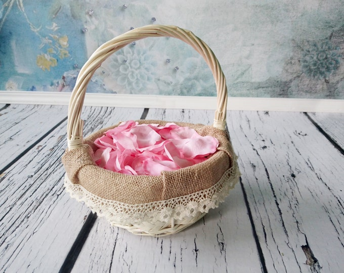 Flower girl basket burlap lace ivory brown rustic wedding decor woodland summer spring wedding sola roses vintage custom