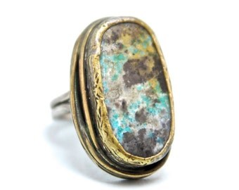 Turquoise Gemstone Silver and Bronze Ring , Old style