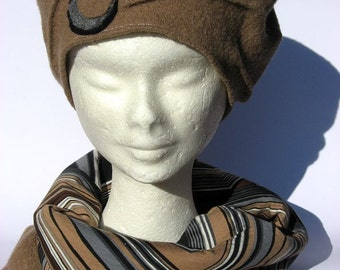 french beret basque and scarf wool beige, set winter beret and scarf, gift idea christmas