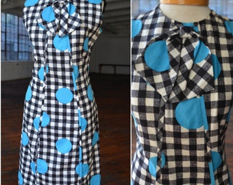 60s Black and White Checkered Mod Dress with Large Turquiose Dots