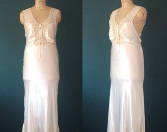 Ivory wedding dress-Ivory chemise-Ivory lingerie-Wedding lingerie-Ivory nightgown-40s wedding dress-40s gown-Bias cut gown-Lace gown-Medium