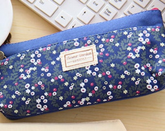 Floral Canvas Pen Pouch  - Navy (1 pc) Korean Stationery Pencil Case Box E0280