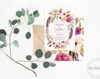 Printable Engagement Invitation | Romantic Watercolor Floral | Bohemian Floral Style | Wedding Invitation | DIY Printable Invitations