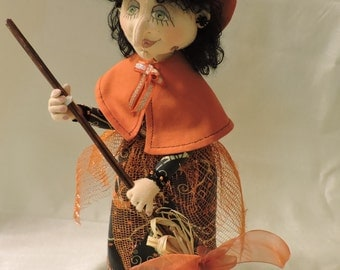 Cloth Art Doll, OOAK, Witch with Black Hair