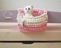 Crochet bed organizer ,bed storage pocket, case caddy